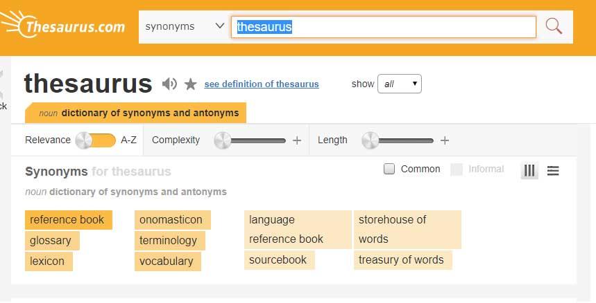 vocabulary vs dictionary vs thesaurus learn english
